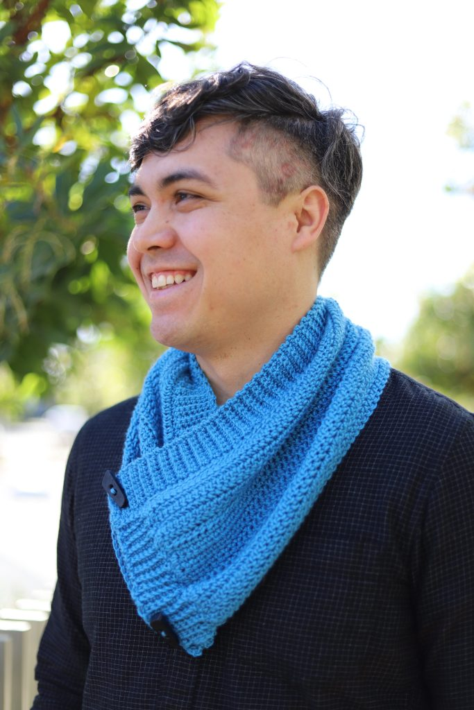 Cowl Finished With Touch Of Merino Yarn