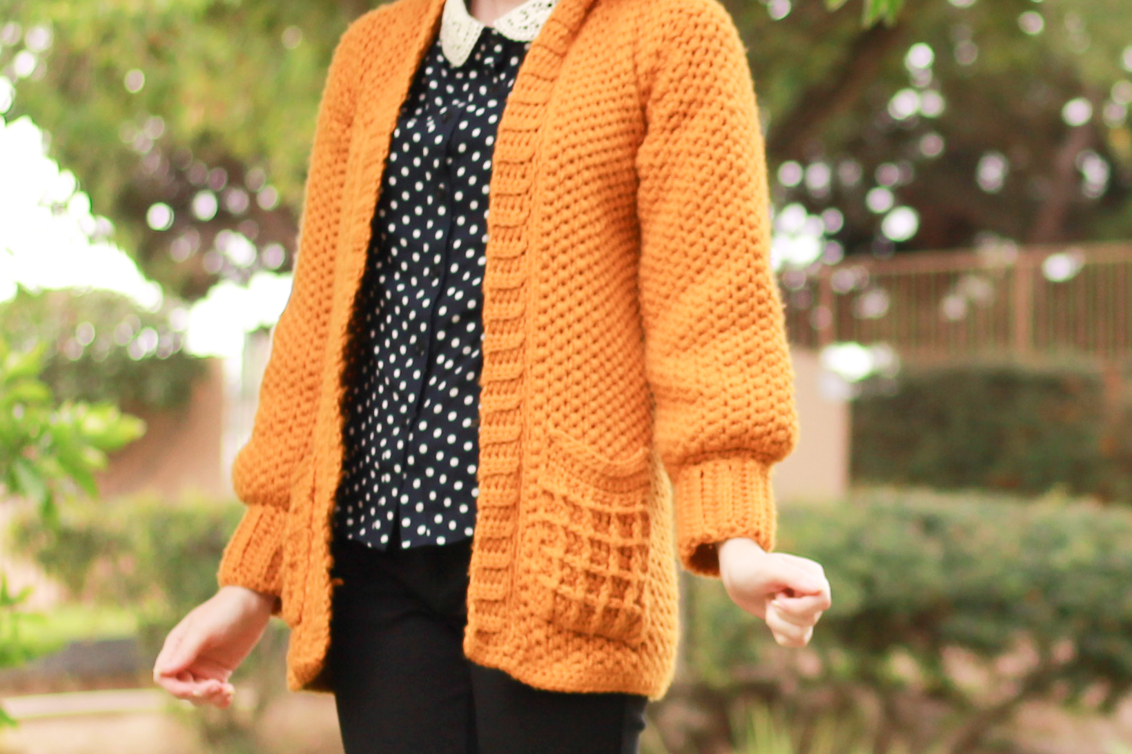 The Waffle Cardigan Front View