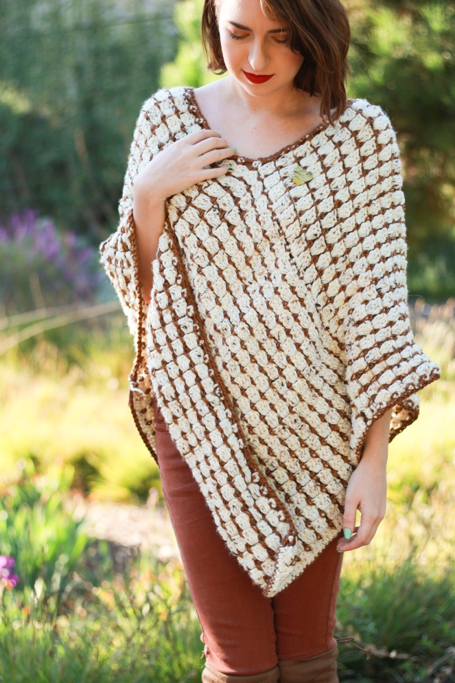 Toasted Marshmallow Poncho Front View